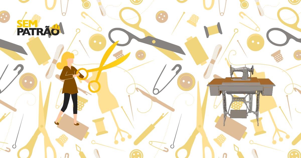 Mostra uma costureira em frente a um plano de fundo com objetos relacionados a costura e a dicas para ser uma boa costureira.