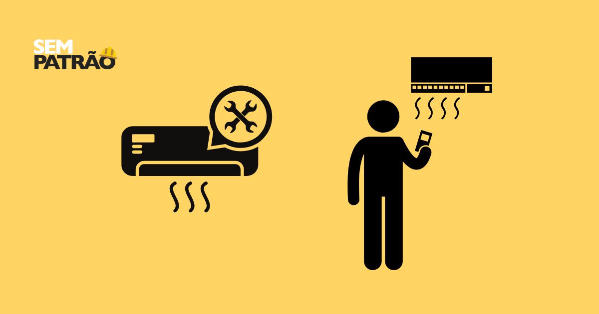 Pessoa ligando um ar-condicionado ao lado de um ar-condicionado com ferramentas para manutenção