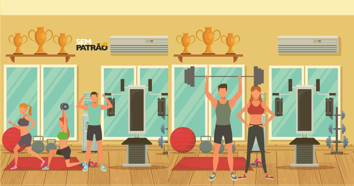Clientes fazendo exercícios na academia